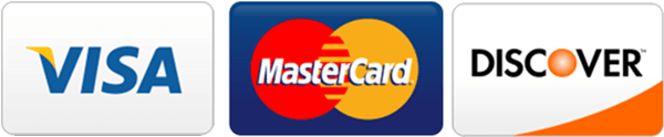 We accept Visa, Mastercard, and Discover credit cards.